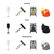 Isolated Object Of Farm And Vineyard Icon. Set Of Farm And Product Vector Icon For Stock.