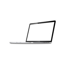 Laptop In Angled Position With Blank Screen Vector Illustration Isolated On White.