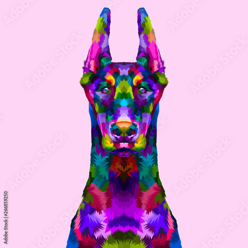 Платно  colorful doberman portrait
