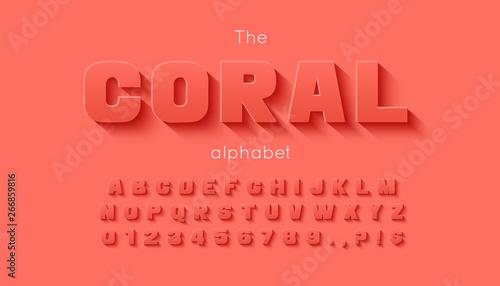 Fotografía  Vector 3d bold font and alphabet