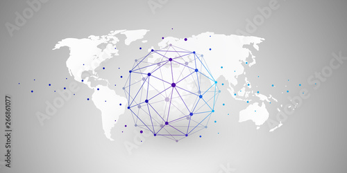 Fotografia  Cloud Computing and Networks Concept with Wireframe Globe - Abstract Global Digi