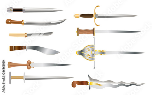 Photo Daggers - a set of cold weapons of different countries and epochs
