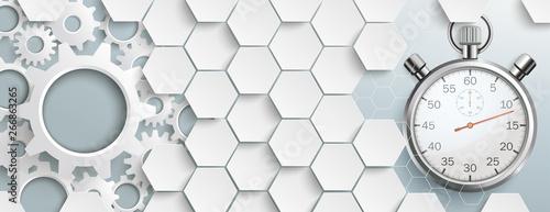 White Hexagon Structure Gears Stopwatch Header
