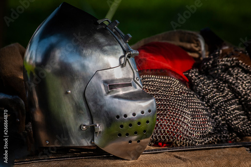 Medieval armors and weapons Canvas Print