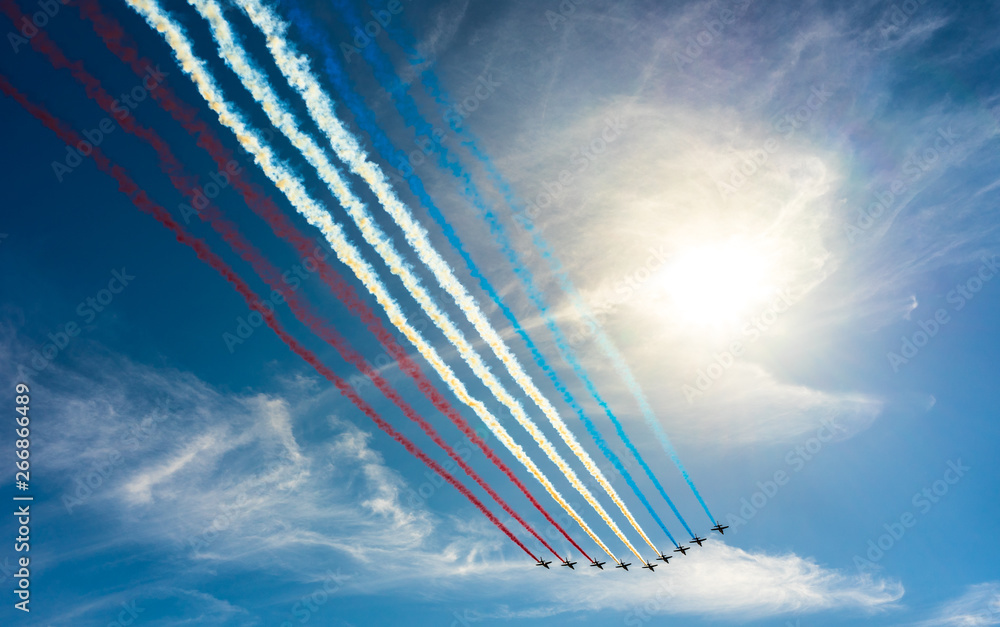 Fototapety, obrazy: Flying several planes in the blue sky, Bastille Day. France flag