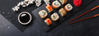 Set of sushi and maki rolls with branch of white flowers on stone table