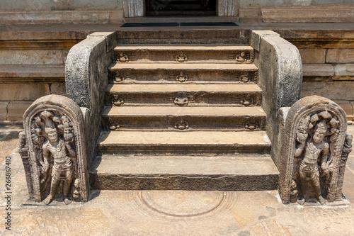 Staircase with Gaurd Stones in Isurumuniya Raja Maha Viharaya, Anuradhapura Sri Canvas Print