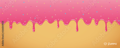 Fototapeta pink sweet melting icing with colorful with colorful sugar pearls vector illustration EPS10 obraz