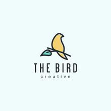 Bird Logo Designs Vintage Retro Line Outline Monoline Art Icon  Vector Illustration