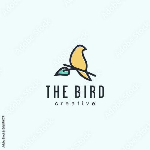 Fototapeta bird logo designs vintage retro line outline monoline art icon  vector illustrat
