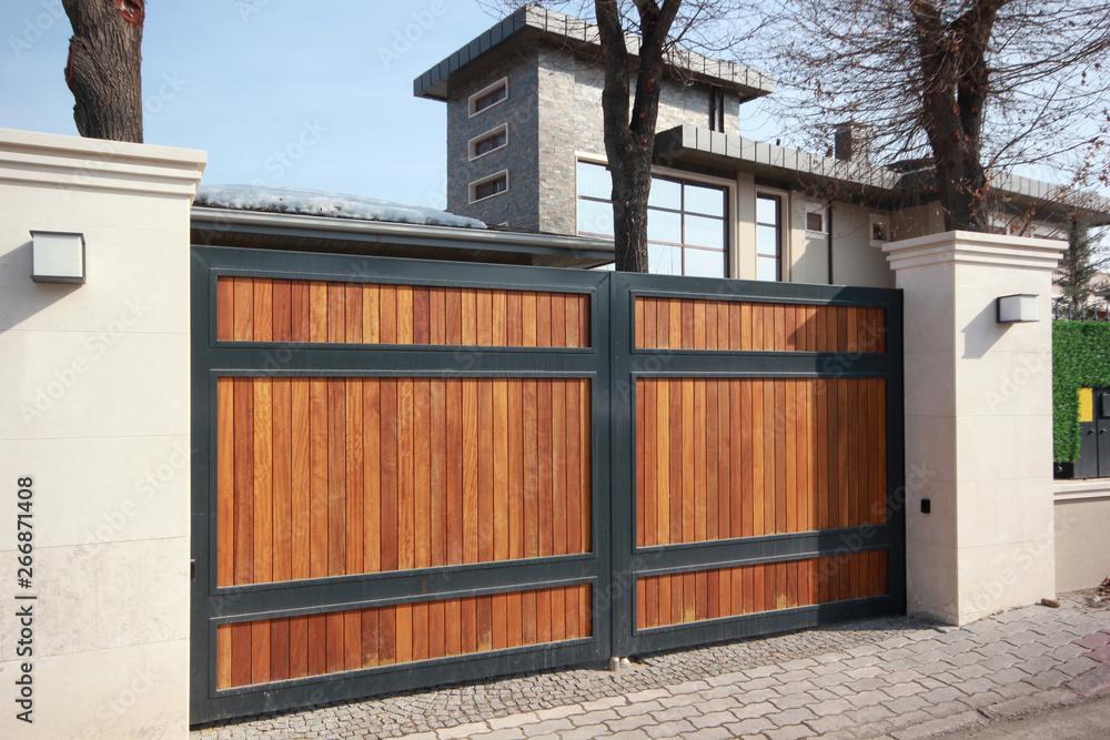 Fototapeta automatic wooden entry door