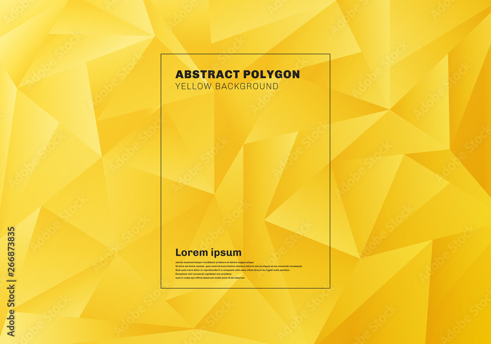 Fototapeta Abstract low polygon or triangles pattern on yellow mustard background and texture.