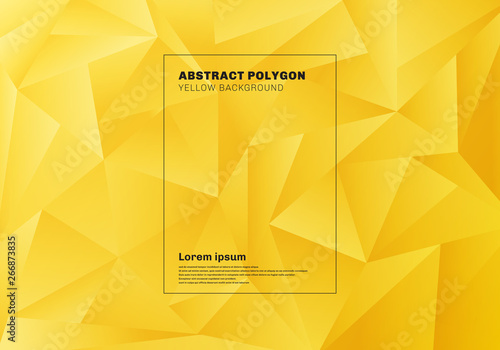 Obraz Abstract low polygon or triangles pattern on yellow mustard background and texture. - fototapety do salonu