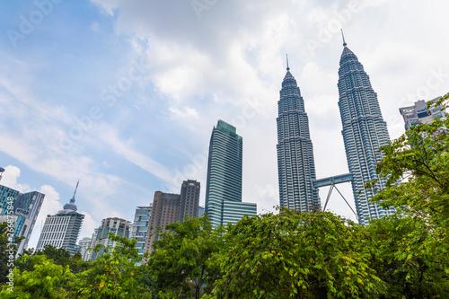 Canvas Prints Kuala Lumpur 22 Apr 2019. Kuala Lumpur, Malaysia. The twin towers of Petronas. Central Park.