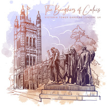 The Burghers Of Calais Statue With The Victoria Tower And The Houses Of Parliament Behind. Westminster, London, UK. Vintage Design. Linear Sketch On A Watercolor Textured Background. EPS10 Vector