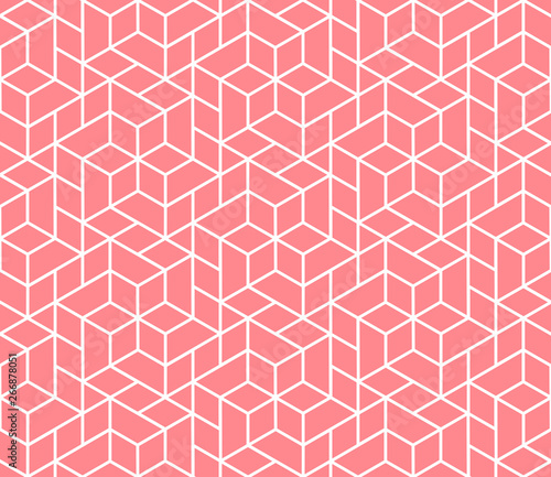 The geometric pattern with lines. Seamless vector background. White and pink texture. Graphic modern pattern. Simple lattice graphic design Wall mural
