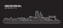 Cityscape Building Line Art Vector Illustration Design -  Kingston Upon Hull City