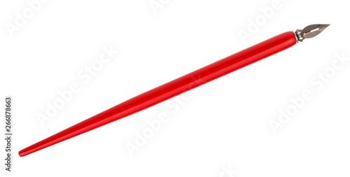 Fototapeta  dip pen with sharp steel nib and red pen holder