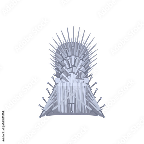 Fototapeta  Empty iron throne cartoon style