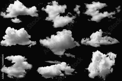 Door stickers Black Set of clouds white on isolated elements black background.