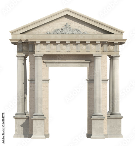 Old portal in neoclassical style isolated on white Canvas Print