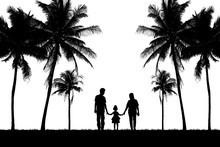 Silhouette Happy Family On Whi...