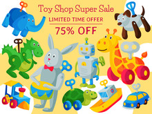 Vintage Retro Clockwork Toy Robot Baby Shop Concept Vector Illustration. Antique Key Machine Robotic Childhood Plaything Mechanism. Robotic Cute Movement. Sale Banner Or Poster