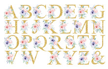 Floral Alphabet, Letters With Watercolor Flowers And Leaf. Gold Monogram Initials Perfectly For Wedding Invitation, Greeting Card, Logo, Poster And Other. Holiday Design Hand Painting.