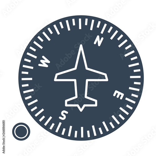 black icon airplane instrument, compass Canvas Print