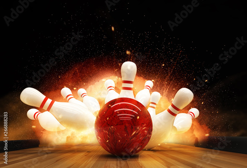 Bowling strike hit with fire explosion Fototapete