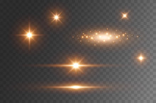 Star Burst With Sparkles Isolated On Transparent Background. Sun Flash With Rays Or Gold Spotlight Set. Glow  Flare Light Effect.