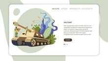 Army Soldiers In Uniform And Tank Web Page Template