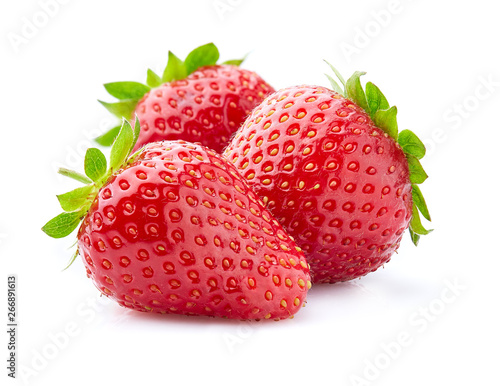 Fotomural Fresh strawberry with leaves