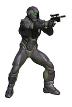 Science Fiction Illustration Of A Future Marine Wearing Corroded Heavy Armour And Firing A Pistol, 3d Digitally Rendered Illustration