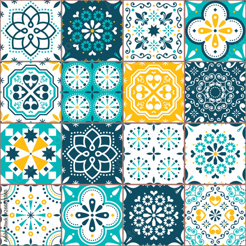 Poster Kunstmatig Lisbon Azujelo vector seamless tiles design - Portuguese retro pattern in turqouoise and yellow, tile big collection
