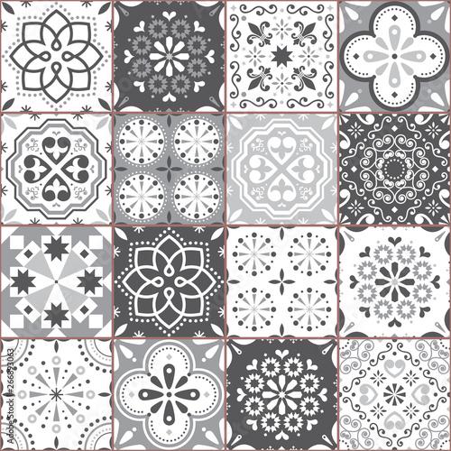 Fototapeten Künstlich Lisbon Azujelo vector seamless tiles design - Portuguese retro gray pattern, tile big collection
