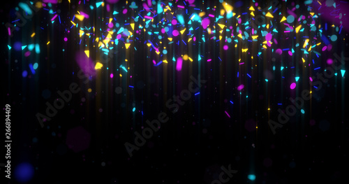 Abstract neon 3d rendered background. Geometrical elements and particles fly on black. Colorful concept for night party poster or banner. - 266894409