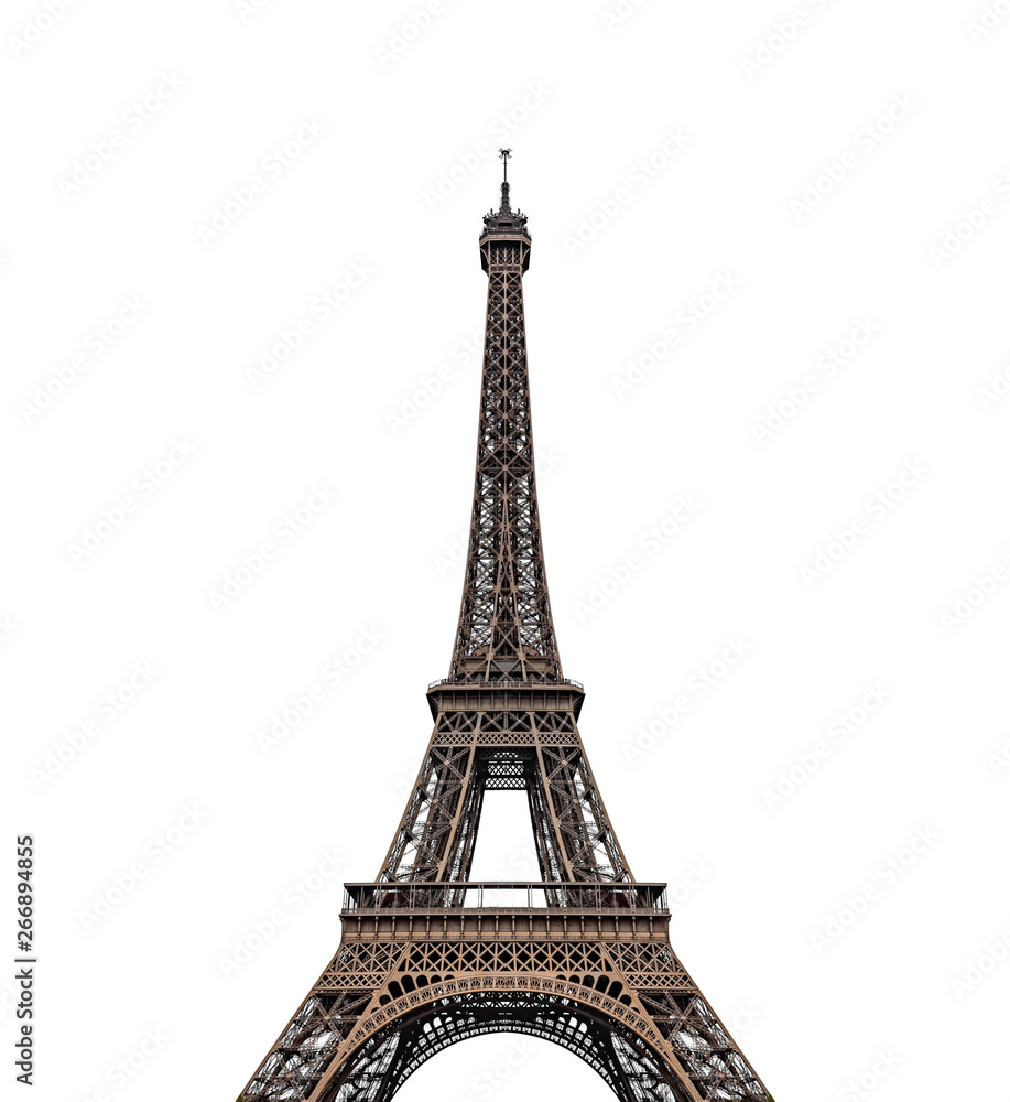 Eiffel tower isolated over the white background.