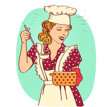 Retro Smiling Housewife .Vecto...