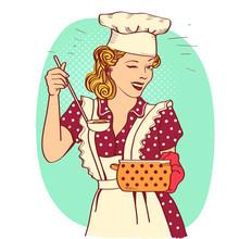 Retro Smiling Housewife .Vector Pop Art Illustration