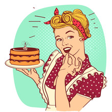 Retro Smiling Housewife .Vector Pop Art Illustration