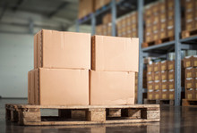 Unlabelled Boxes On Pallet In A Warehouse