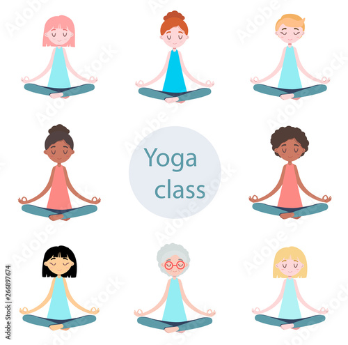 Set Of Isolated Meditation Women In Flat Design Bundle Of Female Cartoon Character Woman Girl Practicing Yoga Healthy Lifestyle Yoga And Meditation Flat Illustration Buy This Stock Illustration And Explore Similar