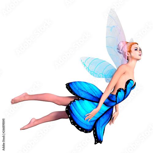 Obraz na plátně  3D Rendering Fantasy Fairy on White
