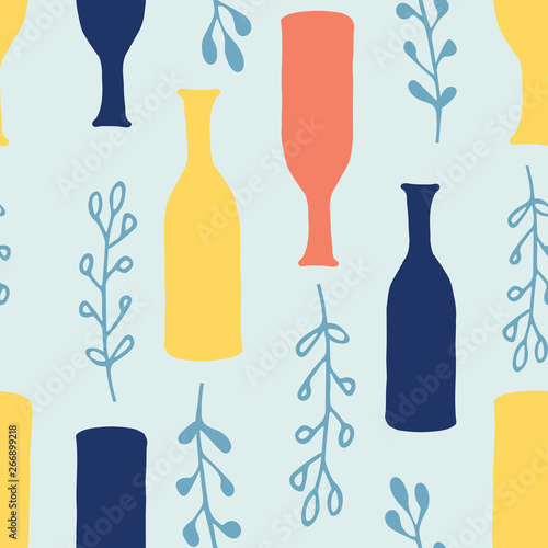 Cartoon vases, ferns seamless  pattern in pale turquoise with vibrant yellow, navy blue and coral Wallpaper Mural