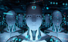 Group Of Male Robots Following...