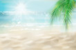 Abstract view of the sunny beach with a palm tree. Tropical resort . Vector Illustration.