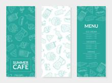 Summer Food Menu Template, Main Dishes, Ice Cream, Desserts, Drinks, Restaurant Or Cafe Design Element Vector Illustration
