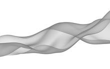Abstract Gray Wave. Raster Air Background. Bright Gray Ribbon On White Background. Gray Scarf. Abstract Gray Smoke. 3D Illustration