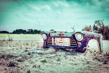 Forgotten Front Part Of A Vintage Car On A Field, Rural, Field,